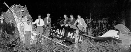Lindbergh's first crash near Ottawa, Illinois