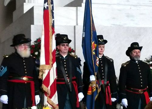 Lancaster Fencibles color guard helps ISS at Lincoln Memorial